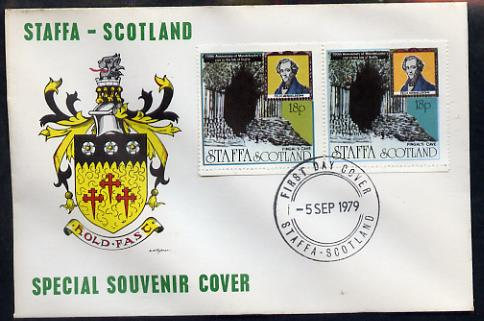 Staffa 1979 Mendelssohn's Visit cover #4 bearing 2 x 18p values showing Fingal's Cave, with first day cancel, stamps on music, stamps on personalities, stamps on composers, stamps on caves, stamps on mendelssohn