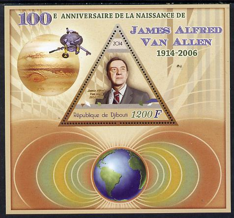 Djibouti 2014 Birth Centenary of James Van Allen perf sheetlet containing triangular value unmounted mint