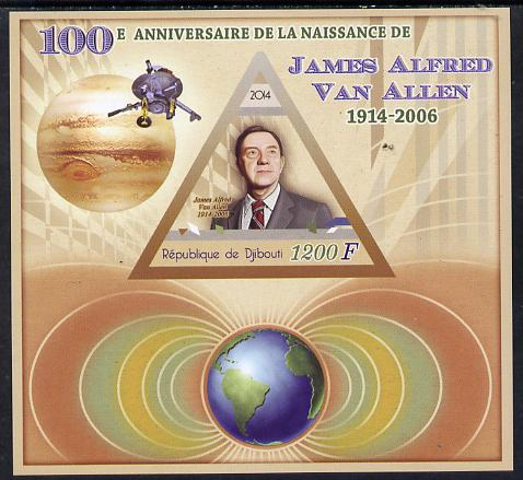 Djibouti 2014 Birth Centenary of James Van Allen imperf sheetlet containing triangular value unmounted mint