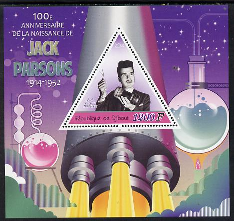 Djibouti 2014 Birth Centenary of Jack Parsons perf sheetlet containing triangular value unmounted mint