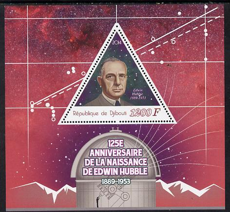 Djibouti 2014 125th Birth Anniversary of Edwin Hubble perf sheetlet containing triangular value unmounted mint