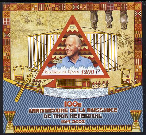 Djibouti 2014 Birth Centenary of Thor Heyerdahl imperf sheetlet containing triangular value unmounted mint