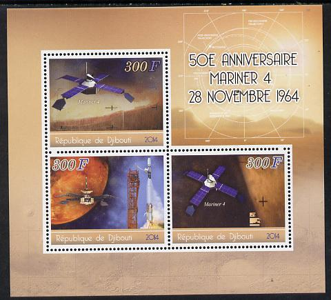Djibouti 2014 50th Anniversary of Launch of Mariner 4 perf sheetlet containing 3 values unmounted mint