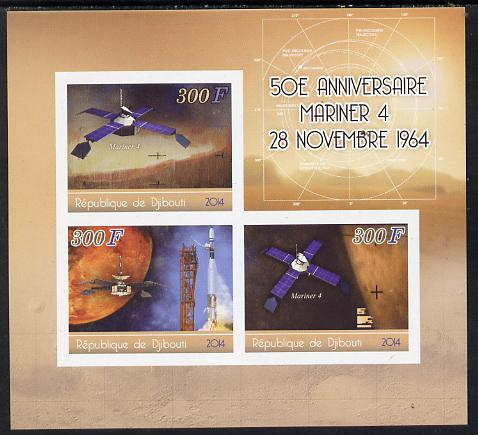 Djibouti 2014 50th Anniversary of Launch of Mariner 4 imperf sheetlet containing 3 values unmounted mint