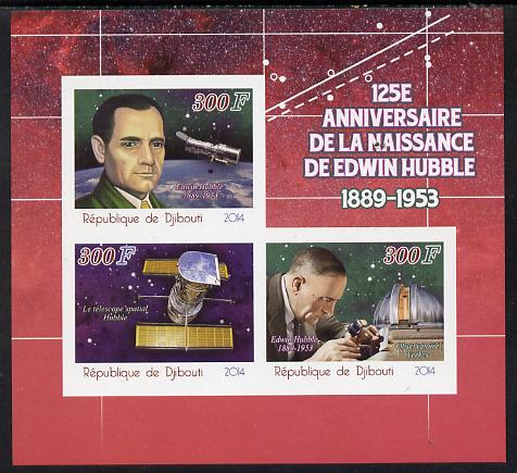 Djibouti 2014 125th Birth Anniversary of Edwin Hubble imperf sheetlet containing 3 values unmounted mint, stamps on space, stamps on science, stamps on astronomy