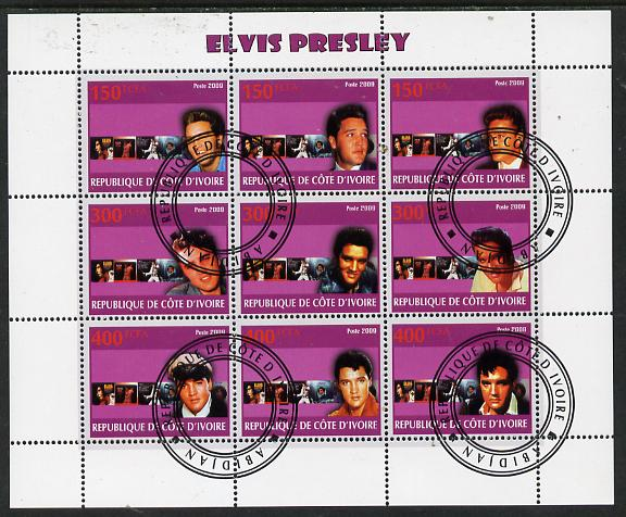 Ivory Coast 2009 Elvis Presley perf sheetlet containing 9 values fine cto used