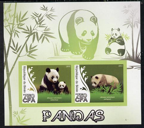 Benin 2014 Pandas imperf sheetlet containing 2 values unmounted mint