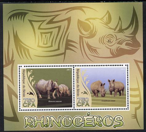 Benin 2014 Rhinos perf sheetlet containing 2 values unmounted mint