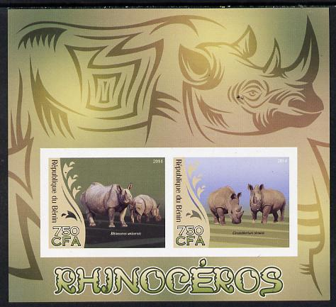 Benin 2014 Rhinos imperf sheetlet containing 2 values unmounted mint