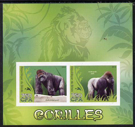 Benin 2014 Gorillas imperf sheetlet containing 2 values unmounted mint