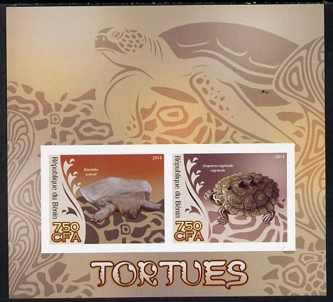 Benin 2014 Turtles imperf sheetlet containing 2 values unmounted mint