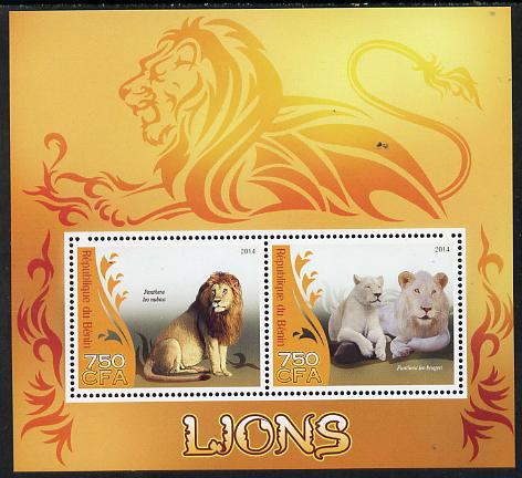 Benin 2014 Lions perf sheetlet containing 2 values unmounted mint