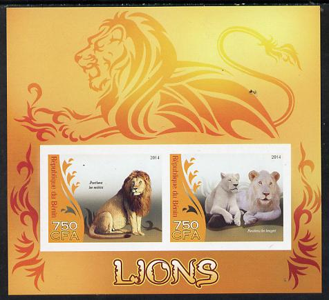 Benin 2014 Lions imperf sheetlet containing 2 values unmounted mint