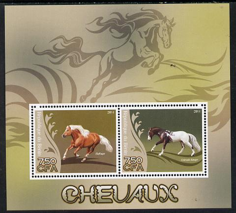 Benin 2014 Horses perf sheetlet containing 2 values unmounted mint