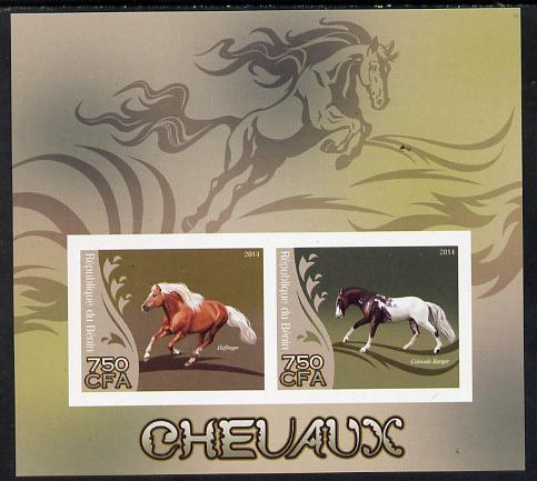 Benin 2014 Horses imperf sheetlet containing 2 values unmounted mint
