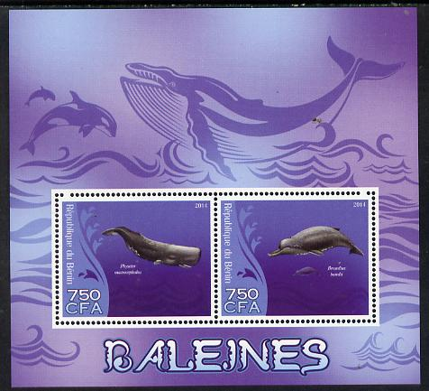 Benin 2014 Whales perf sheetlet containing 2 values unmounted mint