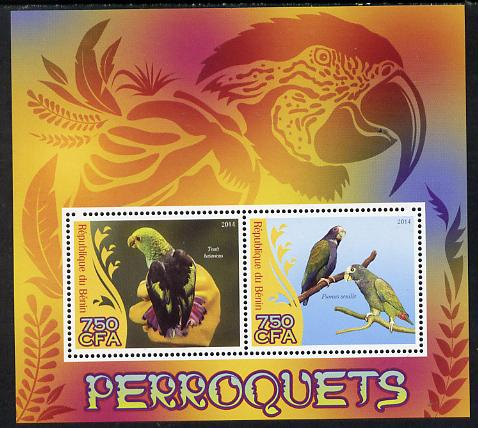 Benin 2014 Parrots perf sheetlet containing 2 values unmounted mint