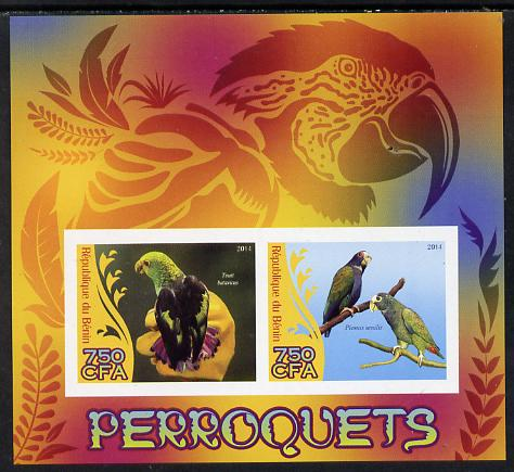 Benin 2014 Parrots imperf sheetlet containing 2 values unmounted mint