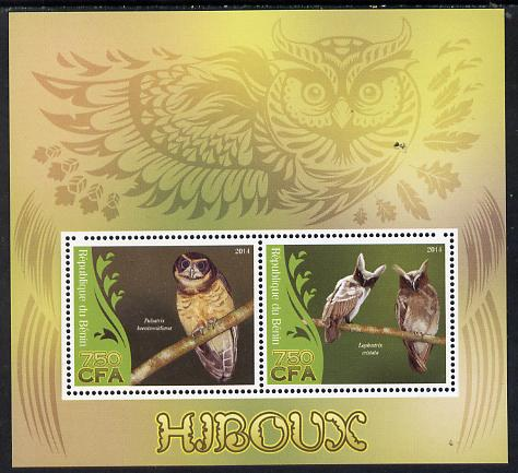 Benin 2014 Owls perf sheetlet containing 2 values unmounted mint