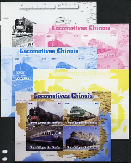Benin 2014 Chinese Locdomotives sheetlet containing 4 values - the set of 5 imperf progressive proofs comprising the 4 individual colours plus all 4-colour composite, unmounted mint