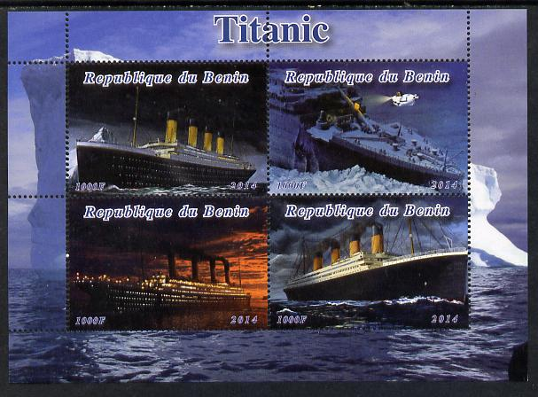 Benin 2014 Titanic perf sheetlet containing 4 values unmounted mint. Note this item is privately produced and is offered purely on its thematic appeal