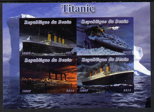 Benin 2014 Titanic imperf sheetlet containing 4 values unmounted mint. Note this item is privately produced and is offered purely on its thematic appeal