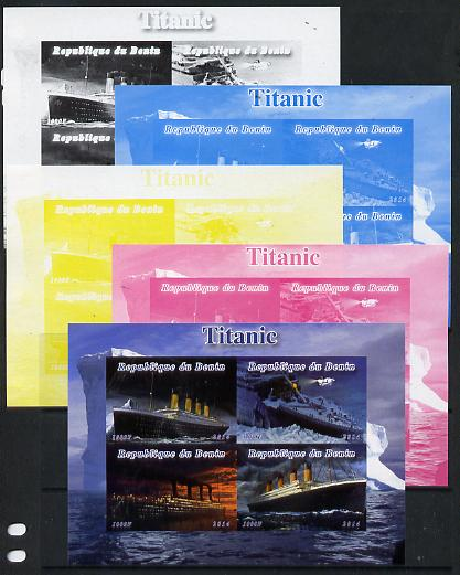 Benin 2014 Titanic sheetlet containing 4 values - the set of 5 imperf progressive proofs comprising the 4 individual colours plus all 4-colour composite, unmoun