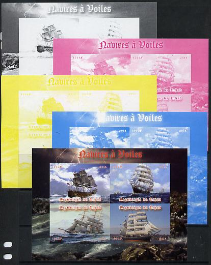 Chad 2014 Sailing Ships #2 sheetlet containing 4 values - the set of 5 imperf progressive proofs comprising the 4 individual colours plus all 4-colour composite, unmoun