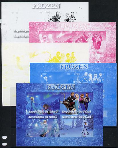 Chad 2014 Walt Disney's Frozen #2 sheetlet containing 4 values - the set of 5 imperf progressive proofs comprising the 4 individual colours plus all 4-colour composite, unmoun