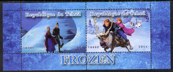 Chad 2014 Walt Disney's Frozen #3 perf sheetlet containing 2 values unmounted mint. Note this item is privately produced and is offered purely on its thematic appeal. .