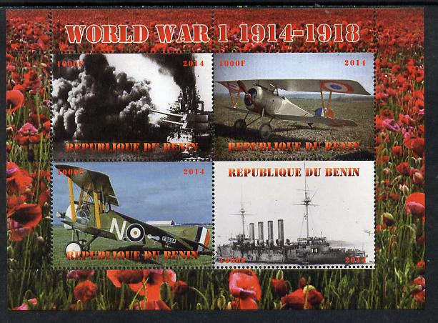 Benin 2014 Centenary of Outbreak of First World War perf sheetlet containing 4 values unmounted mint. Note this item is privately produced and is offered purely on its th...