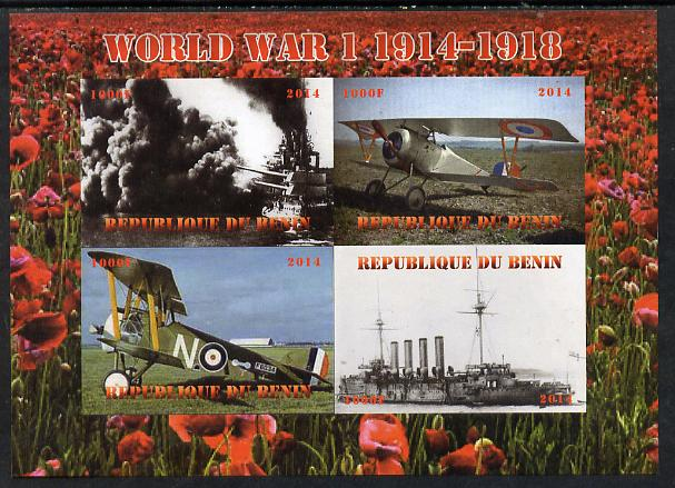 Benin 2014 Centenary of Outbreak of First World War imperf sheetlet containing 4 values unmounted mint. Note this item is privately produced and is offered purely on its thematic appeal