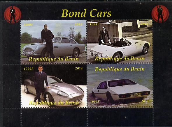 Benin 2014 Bond Cars perf sheetlet containing 4 values unmounted mint. Note this item is privately produced and is offered purely on its thematic appeal