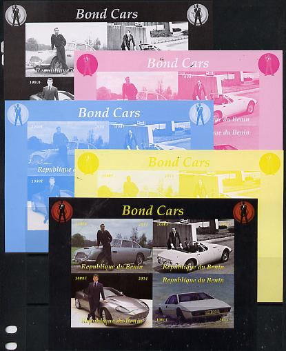 Benin 2014 Bond Cars sheetlet containing 4 values - the set of 5 imperf progressive proofs comprising the 4 individual colours plus all 4-colour composite, unmounted mint