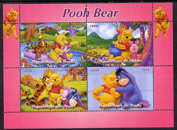 Benin 2014 Pooh Bear #1 perf sheetlet containing 4 values unmounted mint. Note this item is privately produced and is offered purely on its thematic appeal, stamps on films, stamps on cinema, stamps on movies, stamps on disney, stamps on bears, stamps on cartoons
