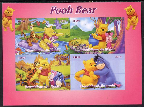 Benin 2014 Pooh Bear #1 imperf sheetlet containing 4 values unmounted mint. Note this item is privately produced and is offered purely on its thematic appeal