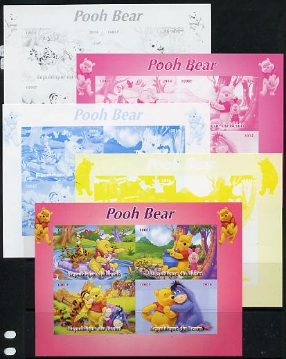 Benin 2014 Pooh Bear #1 sheetlet containing 4 values - the set of 5 imperf progressive proofs comprising the 4 individual colours plus all 4-colour composite, unmounted mint