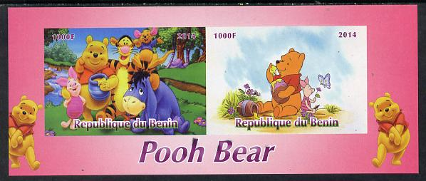 Benin 2014 Pooh Bear #2 imperf sheetlet containing 2 values unmounted mint. Note this item is privately produced and is offered purely on its thematic appeal