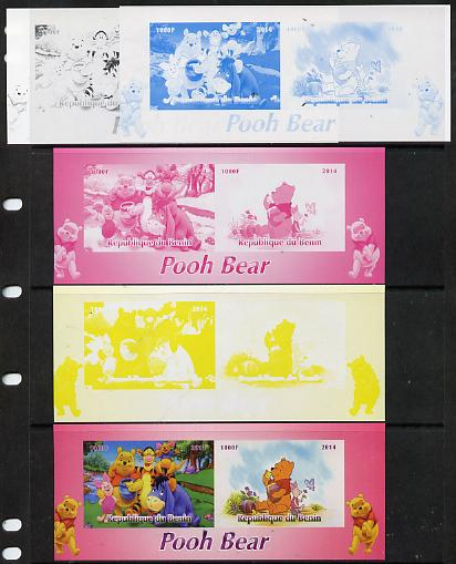 Benin 2014 Pooh Bear #2 sheetlet containing 2 values - the set of 5 imperf progressive proofs comprising the 4 individual colours plus all 4-colour composite, unmounted mint