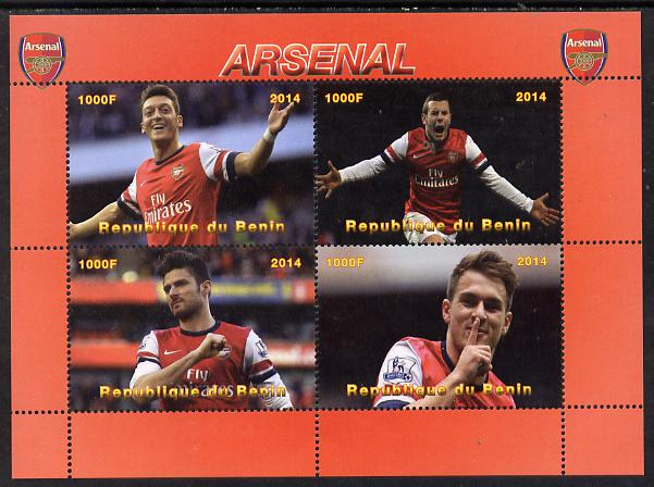 Benin 2014 Arsenal perf sheetlet containing 4 values unmounted mint. Note this item is privately produced and is offered purely on its thematic appeal