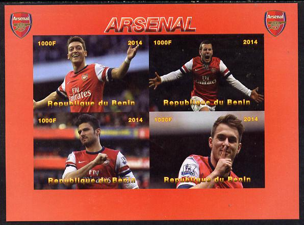 Benin 2014 Arsenal imperf sheetlet containing 4 values unmounted mint. Note this item is privately produced and is offered purely on its thematic appeal