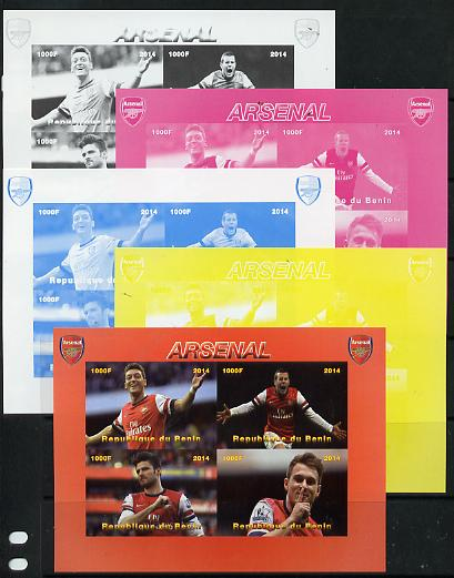 Benin 2014 Arsenal sheetlet containing 4 values - the set of 5 imperf progressive proofs comprising the 4 individual colours plus all 4-colour composite, unmounted mint