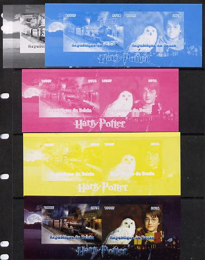 Benin 2014 Harry Potter #3 sheetlet containing 2 values - the set of 5 imperf progressive proofs comprising the 4 individual colours plus all 4-colour composite, unmounted mint