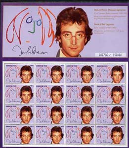 Azerbaijan 1995 Rock & Roll Legends (John Lennon) sheetlet containing 16 x 500m unmounted mint