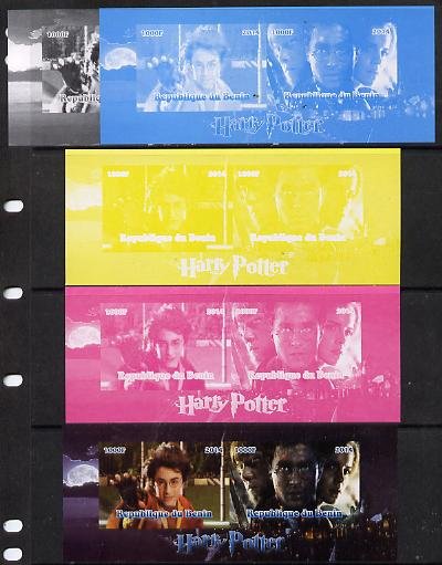 Benin 2014 Harry Potter #4 sheetlet containing 2 values - the set of 5 imperf progressive proofs comprising the 4 individual colours plus all 4-colour composite, unmounted mint