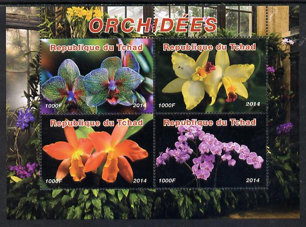 Chad 2014 Orchids #3 perf sheetlet containing 4 values unmounted mint. Note this item is privately produced and is offered purely on its thematic appeal. .