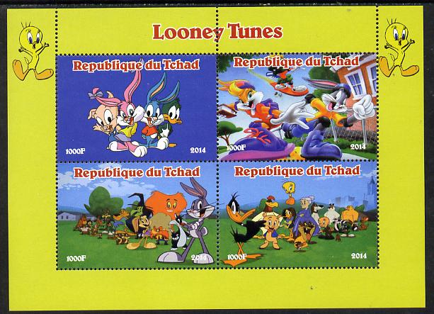 Chad 2014 Looney Tunes perf sheetlet containing 4 values unmounted mint. Note this item is privately produced and is offered purely on its thematic appeal.