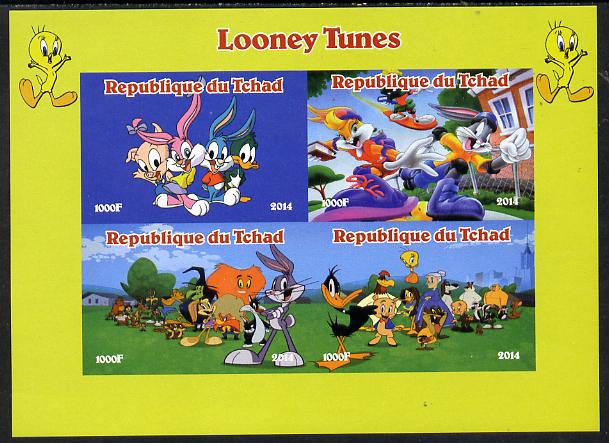 Chad 2014 Looney Tunes imperf sheetlet containing 4 values unmounted mint. Note this item is privately produced and is offered purely on its thematic appeal. .