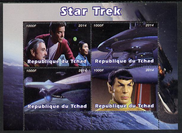 Chad 2014 Star Trek perf sheetlet containing 4 values unmounted mint. Note this item is privately produced and is offered purely on its thematic appeal. .
