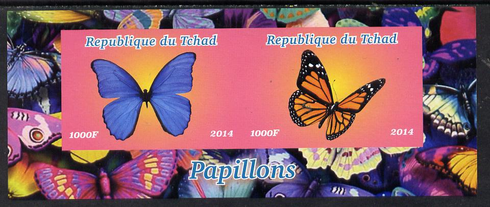 Chad 2014 Butterflies #4 imperf sheetlet containing 2 values unmounted mint. Note this item is privately produced and is offered purely on its thematic appeal. .